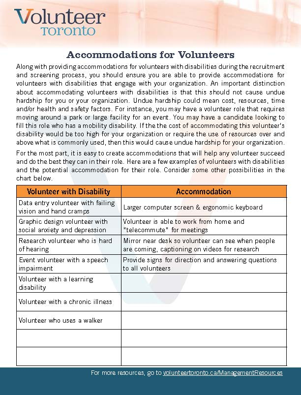 Accesible Volunteer Programs and The AODA