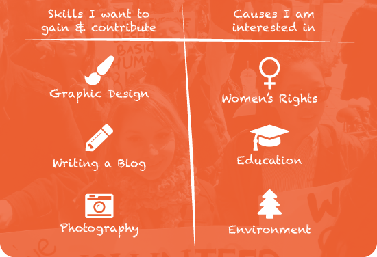 Skills I want to gain & contribute. Graphic Design, Writing a Blog, Photography. Causes I am interested in. Women's Rights, Education, Environment.