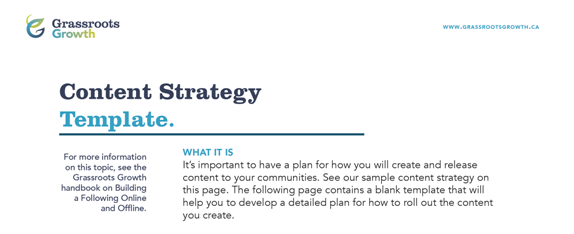 Marketing Content Strategy Template for Grassroots Organizations