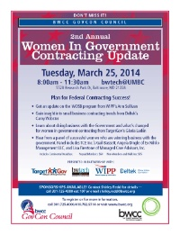 DON'T MISS IT!2nd Annual: Women In Government Contracting Update